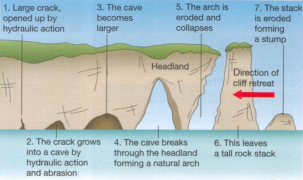 Coastal features geo for cxc this diagram shows how a cave can develop into an arch and eventually a stack ccuart Gallery